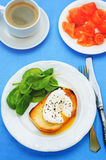 Poached egg with spinach Stock Image