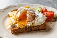 Poached Egg on Toast Bread with Cheddar Cheese, Balsamic Vinegar, Salad and Black Sesame or Cumin Seeds. Organic Food stock photos