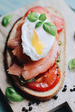 Poached egg Toast Stock Photo