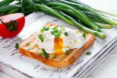 Poached egg on toast. On a wooden case background Stock Image