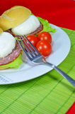 Poached egg. On toasted English muffin royalty free stock photos