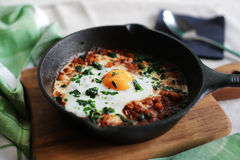 Poached egg in tomato sauce, paprika and spices, arabic shakshouka Royalty Free Stock Images