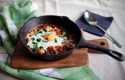 Poached egg in tomato sauce and spices, traditional arabic shakshouka Stock Photos