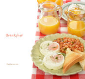 Poached eggs with beans Stock Photos