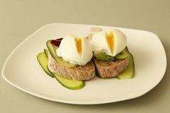 Poached eggs close-up Royalty Free Stock Photo