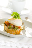Poached eggs with salmon Royalty Free Stock Images