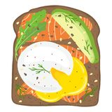Poached eggs with salmon and avocado on toast bread. Delicious poached egg lox sandwich with toast bread. Vector illustration. Stock Photo