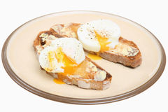 Poached Eggs on Toast Royalty Free Stock Photo