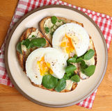 Poached Eggs on Toast from Above. Poached eggs on toast with watercress Stock Image
