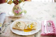 Poached Eggs On Toast, Breakfast Royalty Free Stock Photo