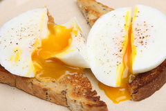 Poached Eggs on Toast. Two poached eggs on wholemeal toast Stock Image