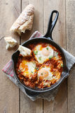 Poached eggs in tomato sauce Royalty Free Stock Images