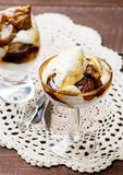 Poached Figs with Cream in glass bowl Stock Image