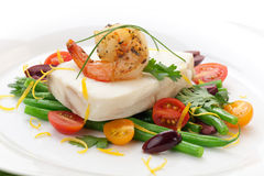 Poached Halibut and Spicy Shrimp Stock Images