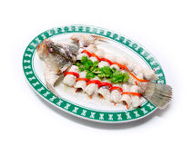 Poached kilen fish flavories style Royalty Free Stock Photos