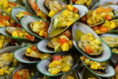 Poached Mussels served with Salsa. An array of Green Mussels with Mango, Tomato  Salsa and Olive Oil. Mediterranean Starter Dish Stock Photography