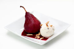 Poached Pear with Ice Cream Royalty Free Stock Photos