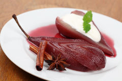 Poached pear in red wine Royalty Free Stock Image