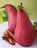 Poached pear with wine Royalty Free Stock Photography