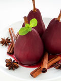 Poached pears Stock Images