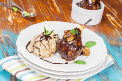 Poached Pears, Chocolate and  Ice Cream Royalty Free Stock Image