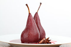 Poached pears in red wine Stock Image