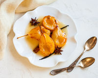 Poached pears with spices Royalty Free Stock Photography