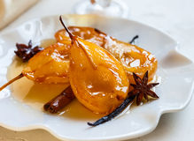 Poached pears with spices Royalty Free Stock Image