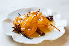 Poached pears with spices Stock Image