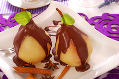 Poached Pears With Chocolate Stock Photo