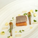 Poached Salmon. Gourmet plate of poached salmon Royalty Free Stock Photos