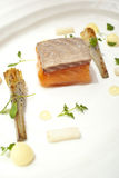 Poached Salmon. On white plate stock images