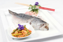 Poached sea bass Royalty Free Stock Photo