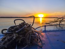Poaching equipment in a boat. Many sharp hooks for sturgeon fishing Royalty Free Stock Photos