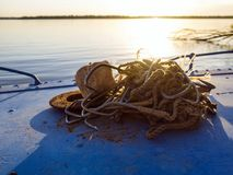 Poaching equipment in a boat. Many sharp hooks for sturgeon fishing Royalty Free Stock Photography