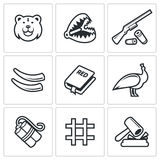 Poaching icons. Vector Illustration. Vector Isolated Flat Icons collection on a white background for design Royalty Free Stock Photos