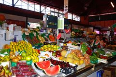 Fruit and veg stall in the indoor market, Olhao. stock image
