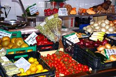 Fruit and veg stall in the indoor market, Olhao. stock photos