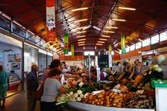 Indoor market stalls, Olhao. stock photo