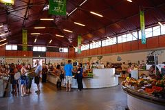 View inside the indoor market, Olhao. royalty free stock photos