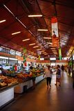 Indoor fruit and veg market stall, Olhao. stock image