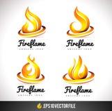Pożarnicza logo ikona Płomienia Wektorowy projekt Obrazy Stock