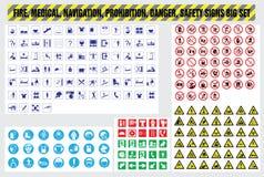 Pożarniczego medycznego nawigaci prohibici niebezpieczeństwa zbawczy znaki ustawiający Zdjęcia Stock