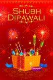 Pożarniczy krakers z dekorującym diya dla szczęśliwego Diwali wakacje India Zdjęcie Stock