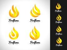 Pożarniczy płomienia logo 3D ogienia loga pojęcie Płomień ikona Obrazy Stock