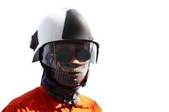 Pożarniczy wojownik na ropa i gaz przemysle, pomyślny strażak przy pracą, Pożarniczy kostium dla wojownika z ogieniem i kostium d Obrazy Royalty Free