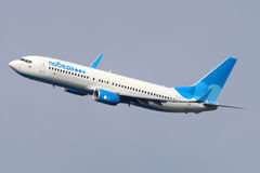 Pobeda Boeing 737-800 makes final turn to land at Vnukovo international airport. VNUKOVO, MOSCOW REGION, RUSSIA - JULY 23, 2015: Pobeda Boeing 737-800 makes Stock Photography