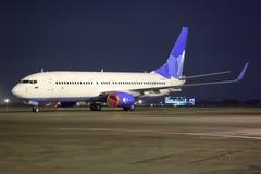 Pobeda Boeing 737-800 VQ-BTC se tenant à l'aéroport international de Sheremetyevo Image libre de droits
