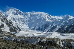 Pobeda peak at Tien Shan high altitude snow mountain stock photography
