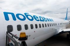 Pobeda van de Russische luchtvaartlijn van de vliegtuigenbegroting Royalty-vrije Stock Foto